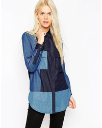 Collection color block denim shirt medium 440070