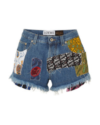 Loewe Paulas Ibiza Patchwork Printed Voile And Denim Shorts