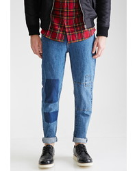 21men 21 Medium Wash Slim Fit Patchwork Jeans