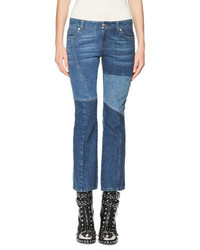 Alexander McQueen Patchwork Kick Crop Jeans Light Blue