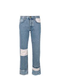 Current/Elliott Cropped Patchwork Jeans