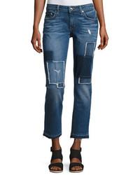 Derek Lam 10 Crosby Mila Patchwork Mid Rise Slim Boyfriend Jeans Blue