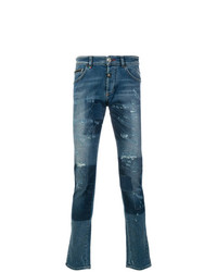 Philipp Plein Distressed Patchwork Jeans