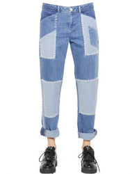 House of Holland Patchwork Cotton Denim Boyfriend Jeans