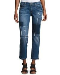 Derek Lam 10 Crosby Mila Patchwork Mid Rise Slim Boyfriend Jeans
