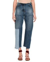 Valentino Patchwork Cropped Skinny Jeans Light Blue