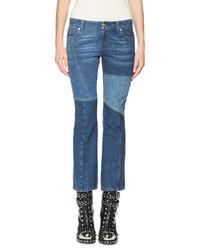 Alexander McQueen Patchwork Kick Crop Jeans Light Blue