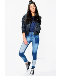 Boohoo Rosina Mid Rise Patchwork Skinny Jeans