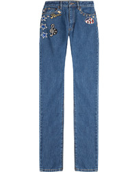 Marc Jacobs Straight Leg Jeans With Patches And Embellisht
