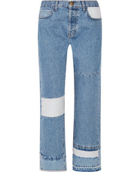 The diy patchwork high rise straight leg jeans blue medium 4393990