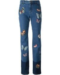 Valentino Jamaica Butterflies Applique Jeans