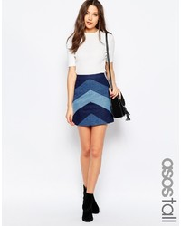 Asos tall denim a line mini skirt with chevron patchwork medium 454409