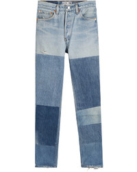 Blue Patchwork Skinny Jeans