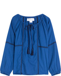 Blue Peasant Blouse