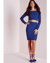 Missguided Madelynn Knit High Waist Midi Skirt Cobalt Blue