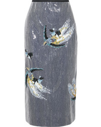 Erdem Sacha Sequined Crepe Midi Skirt Light Blue