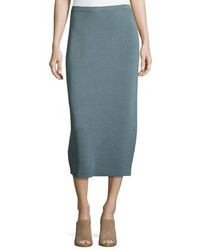 Eileen Fisher Washable Silkcotton Midi Pencil Skirt Blue Steel Plus Size