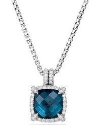 David Yurman 9mm Chtelaine Hampton Blue Topaz Pendant Necklace With Diamonds