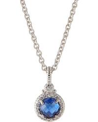 Judith Ripka Blue Corundum Pendant Necklace W White Sapphire Halo