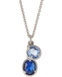 Judith Ripka Blue Quartz Corundum Pendant Necklace Blue