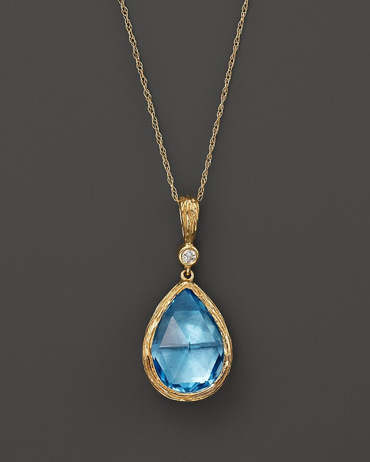 Bloomingdales Blue Topaz And Diamond Teardrop Pendant Necklace In