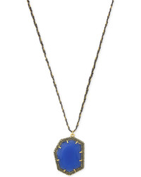 Vince Camuto Gold Tone Blue Stone Pav Trim Pendant Necklace