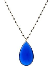 Sonya Renee Jewelry Calcite Pendant On Pyrite Bead Chain Blue