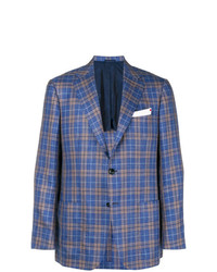 Kiton Checked Single Breasted Blazer