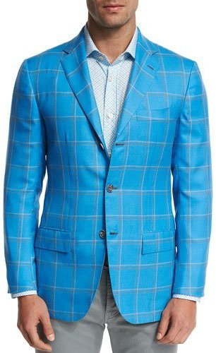 Kiton Large Plaid Three Button Sport Coat Blue | Where to buy