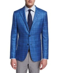 Ermenegildo Zegna Milano Cashmeresilk Plaid Two Button Jacket Light Blue