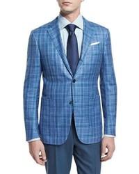 Ermenegildo Zegna Plaid Two Button Jacket Light Bluegreen