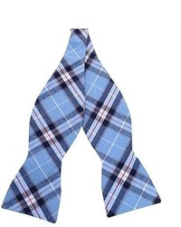 Skinny Tie Madness Skinny Bow Tie Madness Negative Creep Blue Plaid Skinny Bow Tie