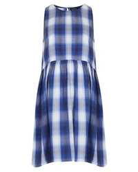 Blue Plaid Casual Dress
