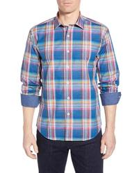 Bugatchi Shaped Fit Plaid Cotton Shirt