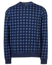 Blue Plaid Crew-neck Sweater