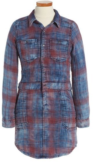 Blank NYC Blanknyc Plaid Cotton Denim Shirtdress
