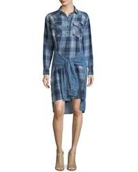 Current/Elliott The Twist High Low Shirt Tie Plaid Denim Dress