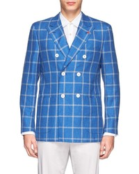 Isaia Double Breasted Window Check Blazer