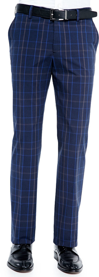 Etro Cotton Blend Plaid Pants Blue | Where to buy & how to wear