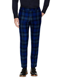 Plaid Trim Fit Coltrane Trousers