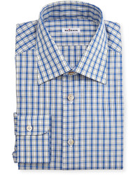 Kiton Box Plaid Long Sleeve Dress Shirt Blue
