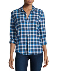 Frank And Eileen Frank Eileen Eileen Button Front Flannel Shirt Blue Pattern