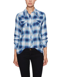Maje Metallic Plaid Snap Front Shirt