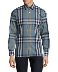 Burberry Nelson Classic Fit Plaid Button Down Shirt