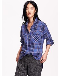 Old Navy Plaid Flannel Pullover Boyfriend Shirt