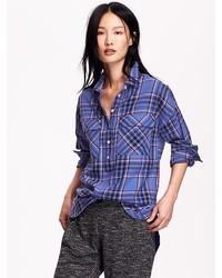 Old Navy Plaid Flannel Pullover Boyfriend Shirt