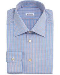 Kiton Plaid Shirt With Stripes Bluered