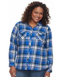 croft & barrow Plus Size Flannel Plaid Button Down Shirt