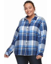 Dickies Plus Size Plaid Button Down Shirt