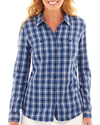 jcpenney St Johns Bay St Johns Bay Long Sleeve Brushed Twill Plaid Shirt
